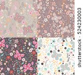 seamless pattern with flowers ... | Shutterstock .eps vector #524230003