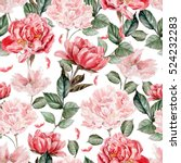 Stock photo watercolor pattern with peony flowers illustration 524232283