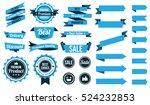 set of blue ribbons   badges...   Shutterstock .eps vector #524232853