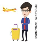 caucasian airplane passenger... | Shutterstock .eps vector #524240233