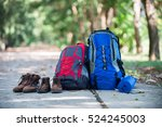 backpack and shoes backpackers...   Shutterstock . vector #524245003