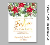 christmas party invitation with ... | Shutterstock .eps vector #524249653