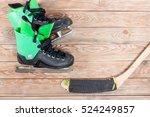overhead view of hockey stick... | Shutterstock . vector #524249857