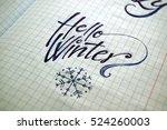 hello winter calligraphic...   Shutterstock . vector #524260003