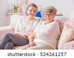 Happy Elderly Lady Sitting On...