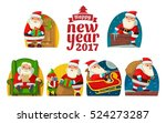 santa claus and elf. set flat... | Shutterstock .eps vector #524273287