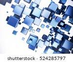 abstract digital blue 3d cubes... | Shutterstock . vector #524285797