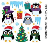 Stylized Christmas Penguins Se...