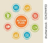 action plan. concept with icons ... | Shutterstock .eps vector #524294953