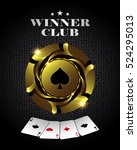 casino poker gold chip ... | Shutterstock . vector #524295013
