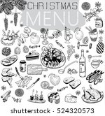 hand drawn christmas menu with... | Shutterstock .eps vector #524320573