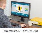 man and computer antivirus | Shutterstock . vector #524321893