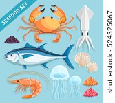Seafood Set. Crab  Squid  Tuna...