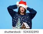young surprised beautiful... | Shutterstock . vector #524332393