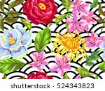 seamless pattern with china... | Shutterstock .eps vector #524343823