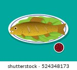 top view fried trout fish on... | Shutterstock .eps vector #524348173