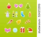 new year's and christmas icons | Shutterstock .eps vector #524372593