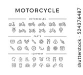 set of motorcycle related line... | Shutterstock .eps vector #524376487
