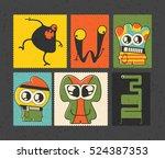 set of six retro postage s... | Shutterstock .eps vector #524387353
