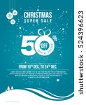 christmas sale poster design... | Shutterstock .eps vector #524396623