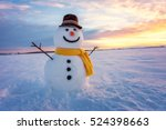 Snowman On Orange Sunset...