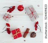 christmas gift boxes... | Shutterstock . vector #524409823