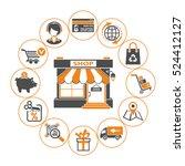 online internet shopping... | Shutterstock .eps vector #524412127