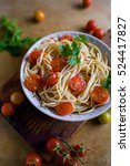 spaghetti with tomato sause and ... | Shutterstock . vector #524417827