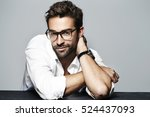 spectacled and handsome in... | Shutterstock . vector #524437093