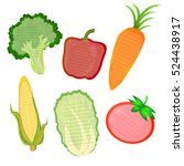 note paper color vegetable... | Shutterstock .eps vector #524438917