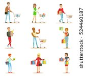 people shopping in department... | Shutterstock .eps vector #524460187