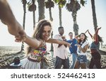 happy friends on the beach | Shutterstock . vector #524462413