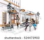 fashion people in the street... | Shutterstock .eps vector #524473903