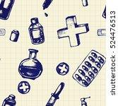 vector doodle seamless... | Shutterstock .eps vector #524476513