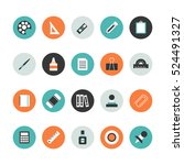 set of flat stationery icon | Shutterstock .eps vector #524491327