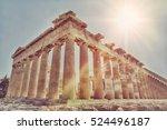 Ancient Parthenon In Acropolis...