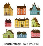 colorful residential house set