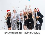 group of joyful young people in ... | Shutterstock . vector #524504227