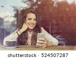 happy young woman sitting in... | Shutterstock . vector #524507287
