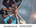 top view of young people... | Shutterstock . vector #524512507