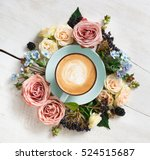 cappuccino and flowers...   Shutterstock . vector #524515687