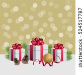christmas gift boxes with... | Shutterstock .eps vector #524517787