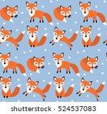 cute fox seamless pattern. foxy ...   Shutterstock .eps vector #524537083