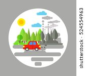 ecology problem concept. car... | Shutterstock .eps vector #524554963