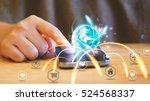hand touch screen smart phone....   Shutterstock . vector #524568337