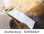 hand touch screen smart phone....   Shutterstock . vector #524568367