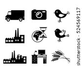 black vector icons  isolated... | Shutterstock .eps vector #524569117