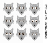 set of cute wolf emoticons.... | Shutterstock .eps vector #524594863
