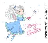 hand drawn beautiful cute... | Shutterstock .eps vector #524609617