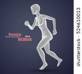 3d running woman  white colored ... | Shutterstock .eps vector #524610013